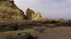 Rock formations along Oregon coast - stock footage