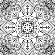 East ornament of floral mandalas. - stock illustration