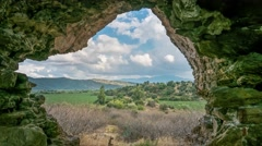View from ruins of ancient Myus tunnel looks out to spectacular valley and Stock Footage