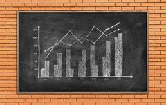 Stock Illustration of Blackboard with drawing stock chart