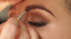 Stock Video Footage of Two women. Makeup artist applying brown color to female eyebrow 4K