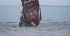 Woman enjoying fresh Wind in Marina, Slow Motion 4K DCi. Stock Footage
