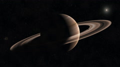 Saturn with Rings in space - zoom into beautiful planet on black background Stock Footage