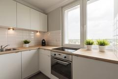 Modernized and spacious kitchen - stock photo