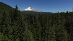 Aerial shot of Trillium Lake and Mt. Hood, Oregon Stock Footage