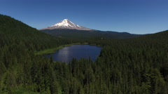 Aerial shot of Trillium Lake and Mt. Hood, Oregon - stock footage