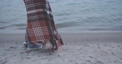 Woollen blanket swaying on the woman in the Wind in Marina, Slow Motion 4K DCi Stock Footage