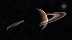 Saturn with Rings in space and Sun off in background in starry sky - stars Stock Footage