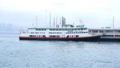 First ferry vessel Xin Guang moored at North Point Ferry Pier Stock Footage