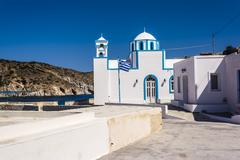 Blue White orthodox church at Firopotamos, Milos island, Greece - stock photo