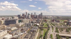 Denver View To Downtown Aerial Drone Footage Stock Footage