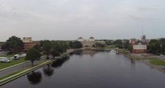 Aerial shot of the Chrysler Museum of Art in Norfolk, VA. Stock Footage