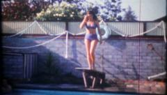 2624 - ladies at the neighborhood pool party - vintage film home movie - stock footage