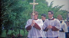 1967: Religious catholic first communion ritual parading. - stock footage