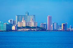 Skyline of modern Havana and Caribbean sea, Cuba Stock Photos
