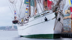 Bow and side of Mexican school sailing ship Cuauhtemoc Stock Footage