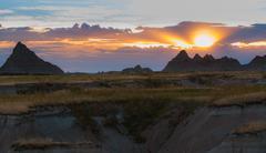 Beautiful Sunset Badlands National Park South Dakota Stock Photos