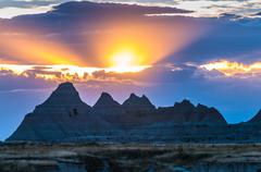 Beautiful Sunset Badlands National Park South Dakota - stock photo