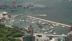 Aerial shot of Royal Hong Kong Yacht Club Stock Footage