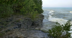 Cave Point County Park, Door County, WI Stock Footage