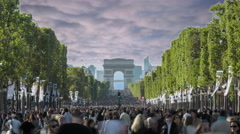 Champs elysees without cars. Composited Timelapse Stock Footage