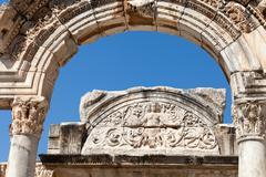 Temple of Hadrian  in the ancient Greek city Ephesus - stock photo
