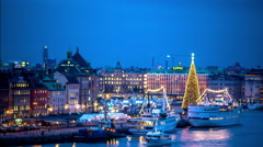 Skeppsbron and the old town of Stockholm at Christmas Stock Footage