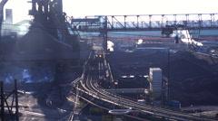Establishing shot of a busy steel mill. Stock Footage