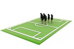 key toy - woman in football ground concept - stock illustration