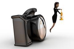 Woman  camera lighting / exposure concept Stock Illustration