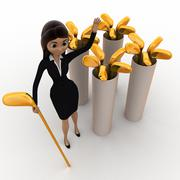 Woman with golf bat concept Stock Illustration