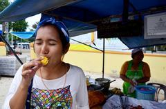 Thai people eating Champedak or Artocarpus integer Stock Photos