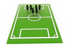 Stock Illustration of key toy - woman in football ground concept