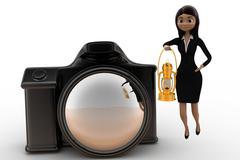 woman  camera lighting / exposure concept - stock illustration