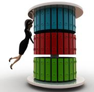 Woman talinf file out from a  file stand concept Stock Illustration