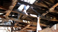 View of the old and rotten roof construction  Stock Footage