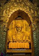 Mahamuni Buddha image in Mandalay, Myanmar - stock photo