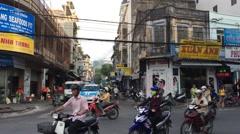 Nha Trang phan bon chau street road traffic Stock Footage