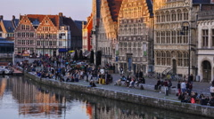 Ghent in the evening Stock Footage