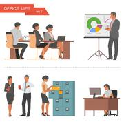 Flat design of business people and office workers. Vector illustration isolated Stock Illustration