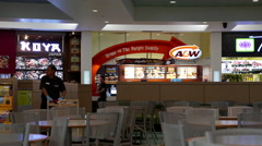 One side of food court area inside Burnaby shopping mall Stock Footage