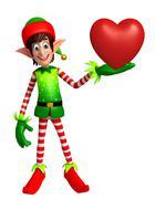 Cartoon Elves with heart shape - stock illustration