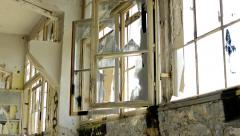 Many windows in the dirty deserted room in the old building Stock Footage