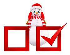 snowman with right mark - stock illustration
