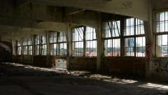 Dirty deserted room in the old building - dark - shadow - many windows Stock Footage
