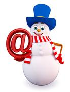 Stock Illustration of Cartoon Snowman with at the rate sign