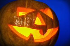 lantern pumpkin jack for Halloween - stock photo