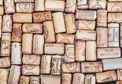 Wine corks famous wine producers Massandra, Chateau, Inkerman, etc - stock photo