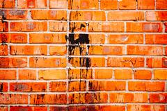 abstract close-up red brick wall background - stock photo