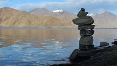 Stupa Near Beautiful Lake Pangong in India - stock footage